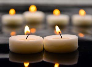 Lit remembrance candles