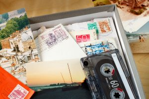 Pile of letters, photos, and audio recordings