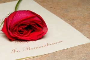 Red rose on In Remembrance program
